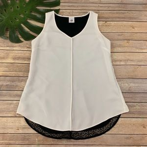 Cabi white & black mesh back sleeveless Domino top